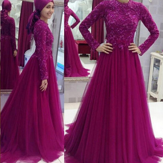 640327f73973 2016 Vestidos High Neck Muslim Women Long Lady Girl Gown A line Tulle Lace  Formal Mermaid Evening Prom Dresses Full Sleeves