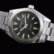 40mm parnis Black Dial Green Hands Deployment Luxury Brand Stainless steel Case  Automatic Mechanical mens Watch