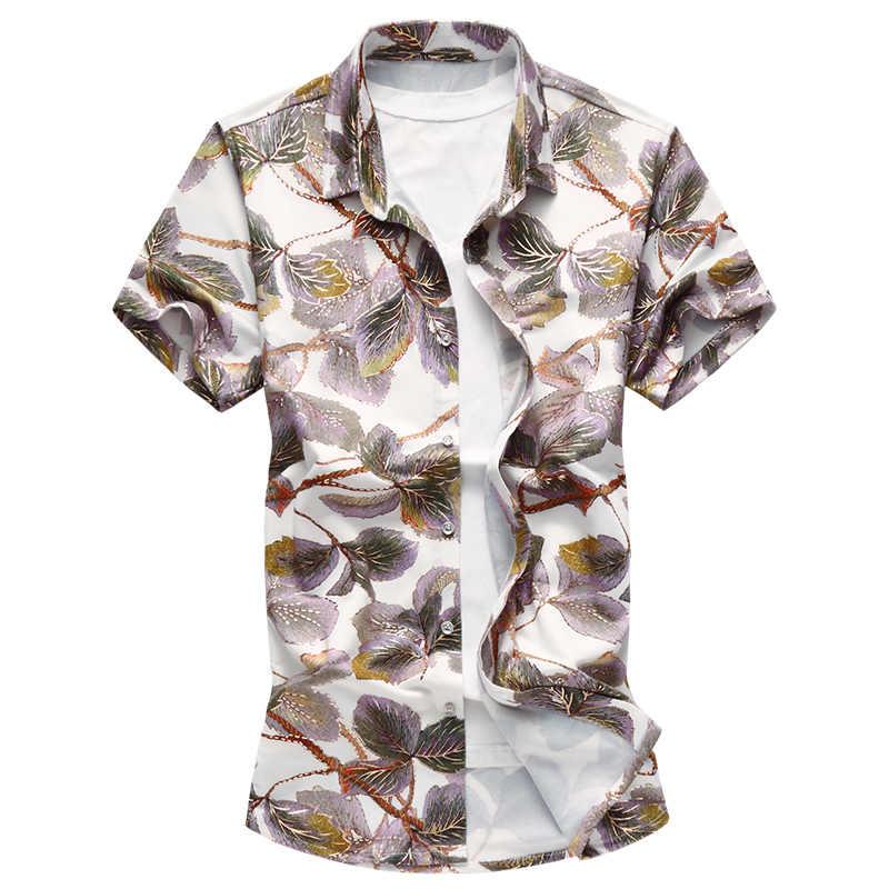 2019 新メンズカジュアルシャツファッションローズ花半袖花シャツプラスサイズボタンダウン社会ハワイの花シャツ