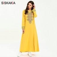 Siskakia Plus Size Ethnic Embroidery Long Dress Casual Muslim Arabian Women Dresses Red Pink Summer 2019 UAE Arab Clothes New
