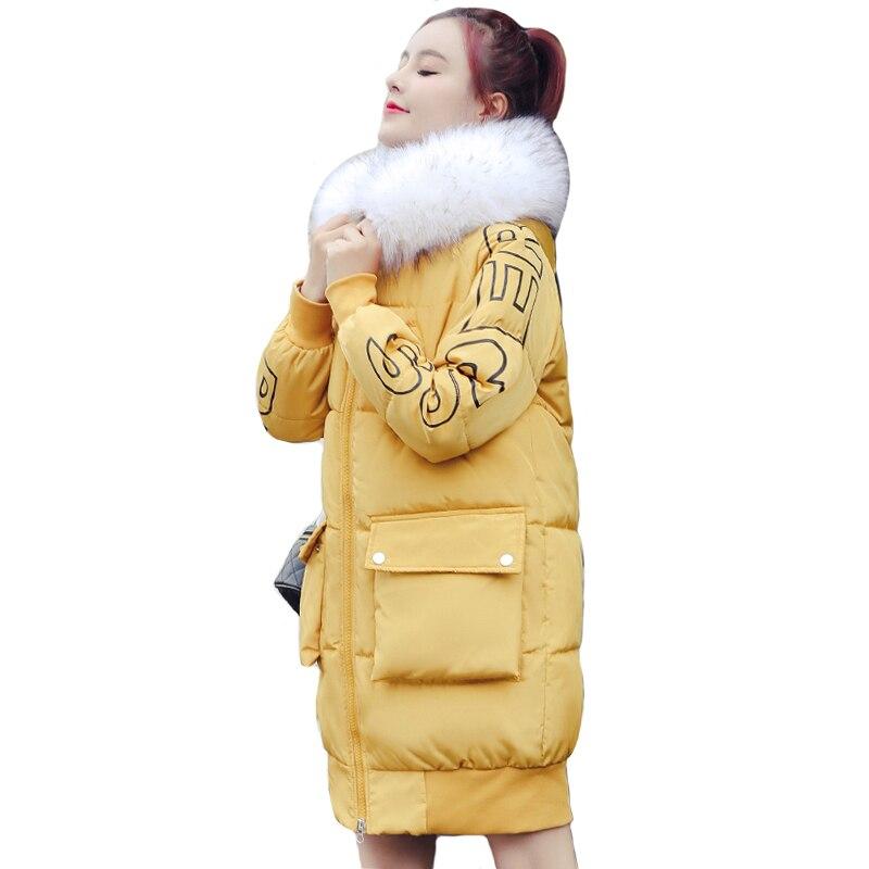 New Arrival 2019 Winter Jacket Women Outwear With Fur Collar Hooded Padded Female Coat Warm Long Winter   Parka   Abrigo Mujer