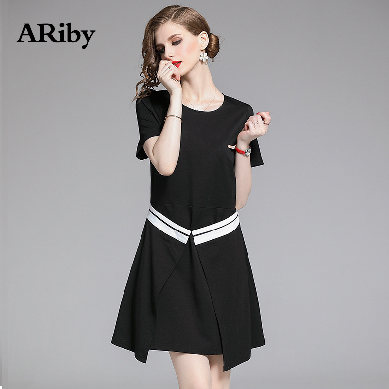 Fake Two Dresses ARiby 2019 Summer New Fashion Casual Slimming Black Short sleeve Solid O-Neck Mini Dress Women A-Line