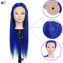 Bolihair Free Shipping Female Mannequin Traning Head with Blue hair head For Wig Hair Hairdressing Training heads