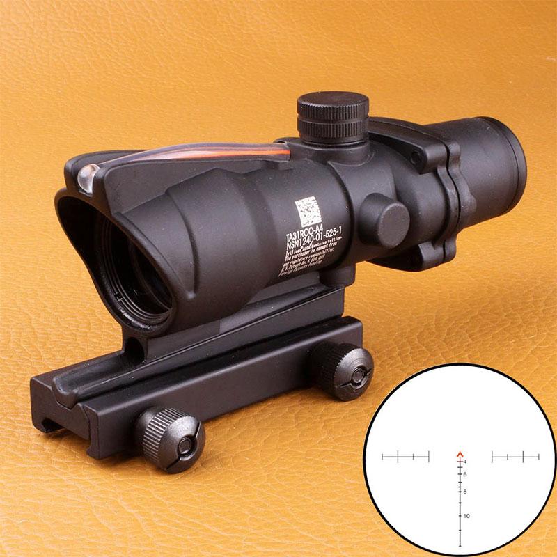 Tactical Optical Sights ACOG 4X32 Scope Red Green Fiber Source Illuminated Riflescope Black 4x32 tactical optical riflescope red