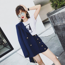 Rivet Vintage 2 Piece Notched Solid Jacket Blazer + Fashion High Waist Shorts