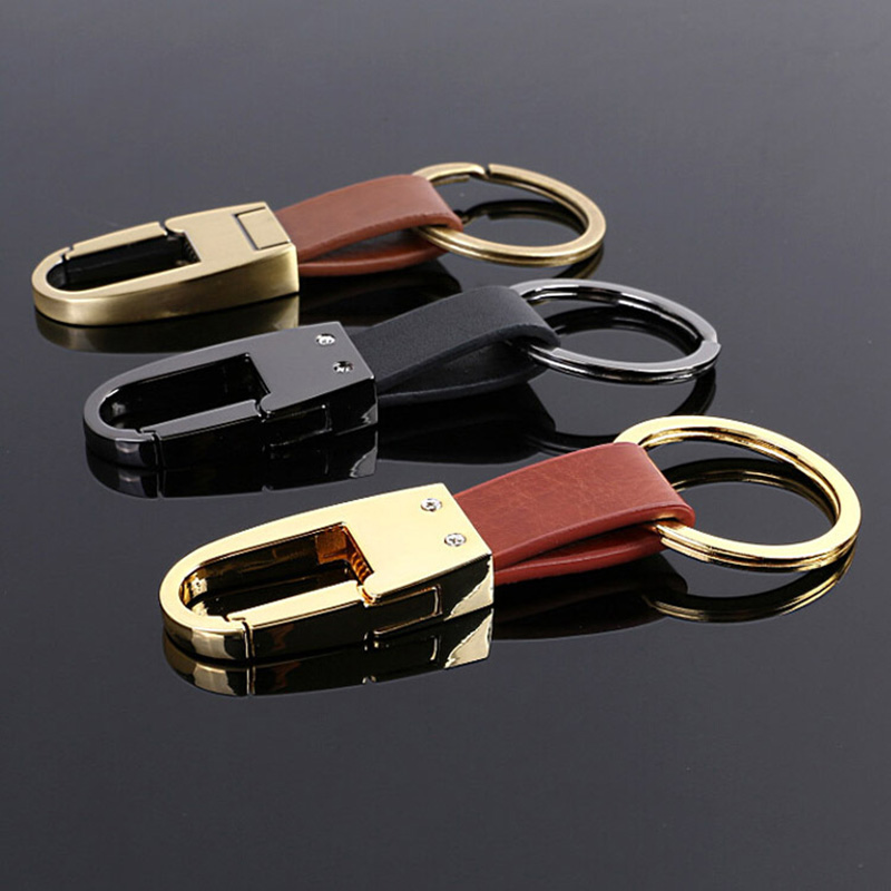 Classic Men's Genuine Leather Keychains Waist Holder Alloy Key Ring High Quality Open Buckle Car Keychain Gifts For Man D35