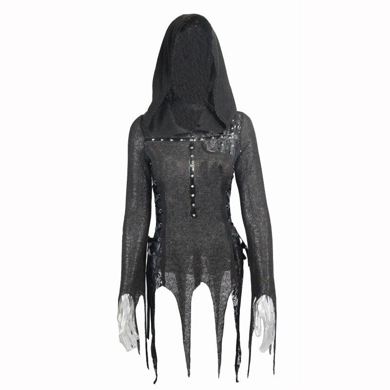 Steampunk femmes noir Sexy Rivet avec à capuche à manches longues T shirts printemps automne mode moulante mince haut pour femme t shirt - 4