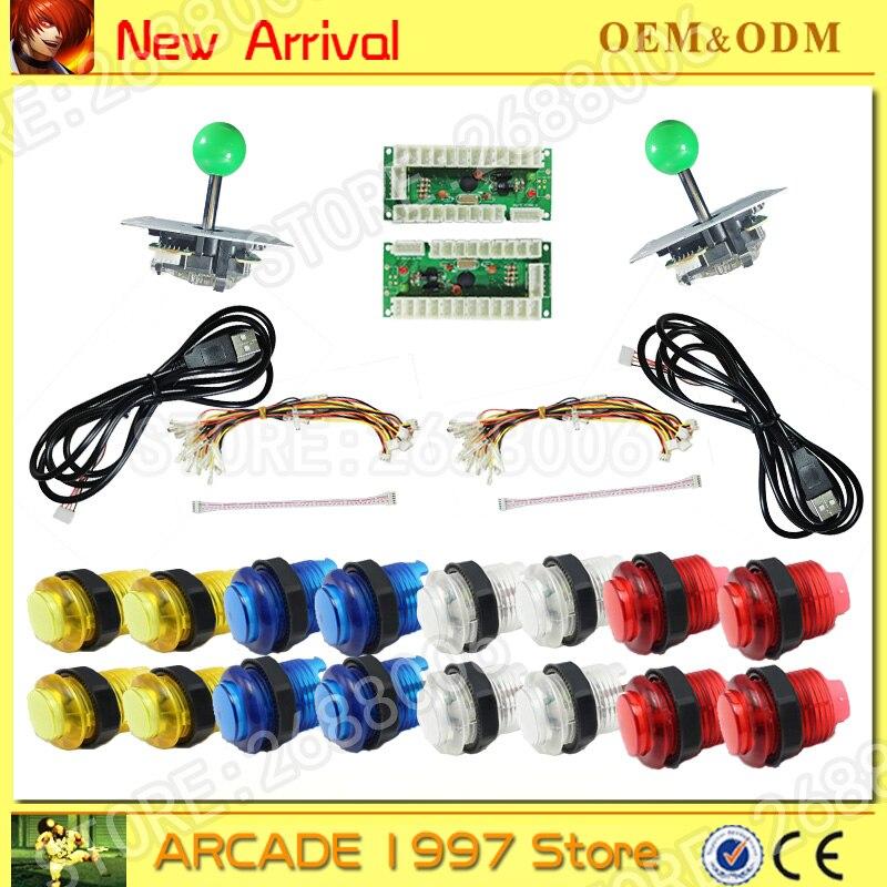 New LED USB Encoder to PC Games 5Pin Rocker 16 LED Illuminated Push Buttons For Arcade Joystick DIY Kits Parts Raspberry Pi 2 3