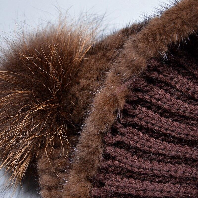 Véritable naturel vison fourrure bonnets hiver fourrure chapeaux pour femmes 2017 nouveau bonne qualité chapeau épais chaud chapeau de pompons russe fourrure casquette - 6