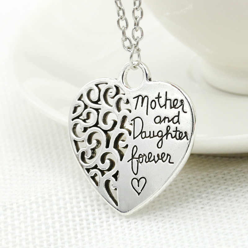 "Two Parts Figure Words ""Mother And Daughter Forever"" Silver Heart Shape Pendant Necklace for Women"