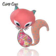 Fashion Brooches for Women Jewelry Zinc Alloy Brooch Cute Enamel Fox Pin Dress Clothing Accessories Nice Gift Girl