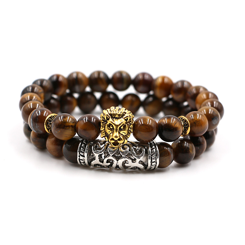 Kang hua 2 pieces set 2019 Trend bracelets Lion head 8mm Natural stone beads Bracelet for men women classic jewelry gift Bijoux in Strand Bracelets from Jewelry Accessories