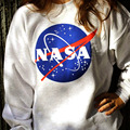 Las mujeres de Gran Tamaño Camiseta Ocasional Impresa NASA Hoodie Pullover Loose Jumper Tee Remata La Blusa