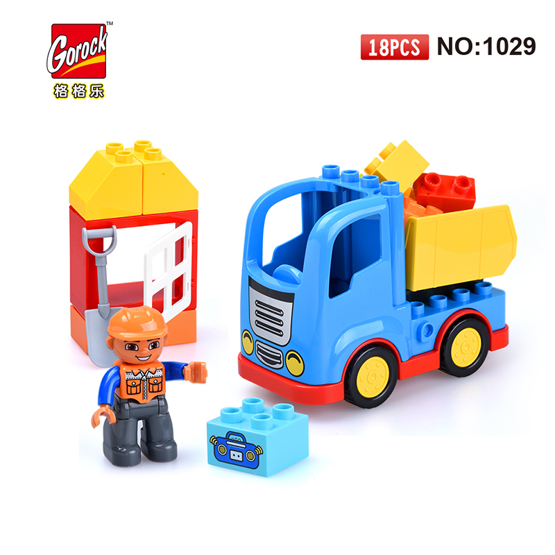 GOROCK 1029 truck Big Building Block Set children Educational Bricks Toys For Birthday Gifts Toy For Baby Compatible With Duploe 81pcs set assemblled gear block montessori educational toy plastic building blocks toy for children fun block board game toy
