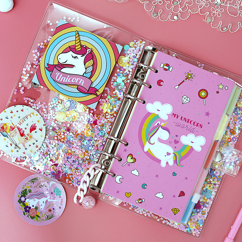 A5 A6 Cute Notebook Planner Set Sparkling Loose Leaf PVC Shell, Pink Unicorn BulletJournal Diary Set Bullet Journal Agenda