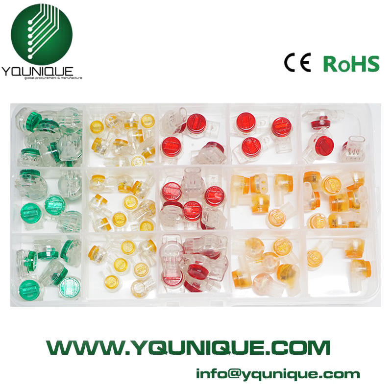 Scotchlok , UR, UY Connector Crimping Pliers+ 100 x Waterproof Mix orange clear red green Button Cable UY Butt Splice Connectors
