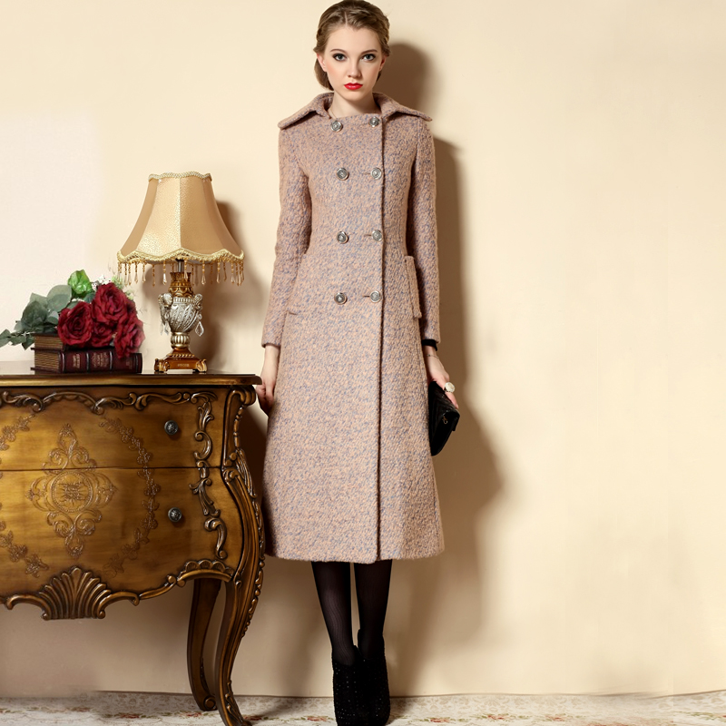 plus size long wool coats winter pink wool coat women double breasted tweed overcoat abrigos. Black Bedroom Furniture Sets. Home Design Ideas