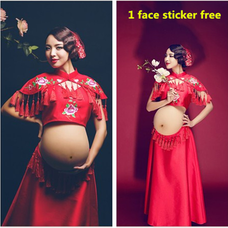 3pcs/set Tradtional Chinese Style Maternity Photography Props Clothing 2016 Designer Pregnant Women Photo Studio Shoots Clothes