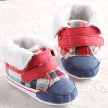 Tartan Plaid Sneakers Style Winter Baby Boots First Walkers Ankle Snow Warm Cotton Soft Crib Infant Fleece Newborn Toddler Shoes