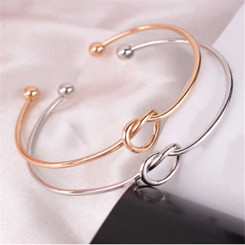 Stylish Wild Bracelet 1PC Chic Fashion Simple Knot Bangle Cuff Opening Bracelet Copper Casting Jewelry High Quality Gifts  L0330