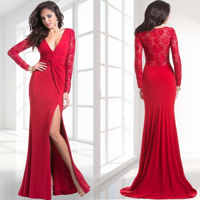 Compare Prices on Long Sleeve Red Evening Dress- Online Shopping ...