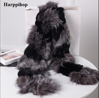 Harppihop silver fox fur black color New Fox fur c/w rex rabbit fur scarf wrap cape shawl best Christmas gift birthday gift