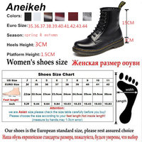 Aneikeh Women Ankle Boots Shoes Woman 2018 Spring Fall Genuine Leather Lace Up Shoes Punk Plus Size 43 44 Riding, Equestr Boots 5