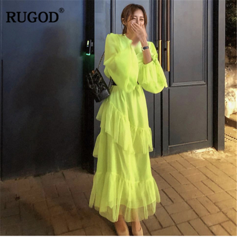 RUGOD 2019 Fashion Layer Women Dress Elegant Solid High Waist Transparent Summer Dress Casual Korean Modis Femme Vestido Verano