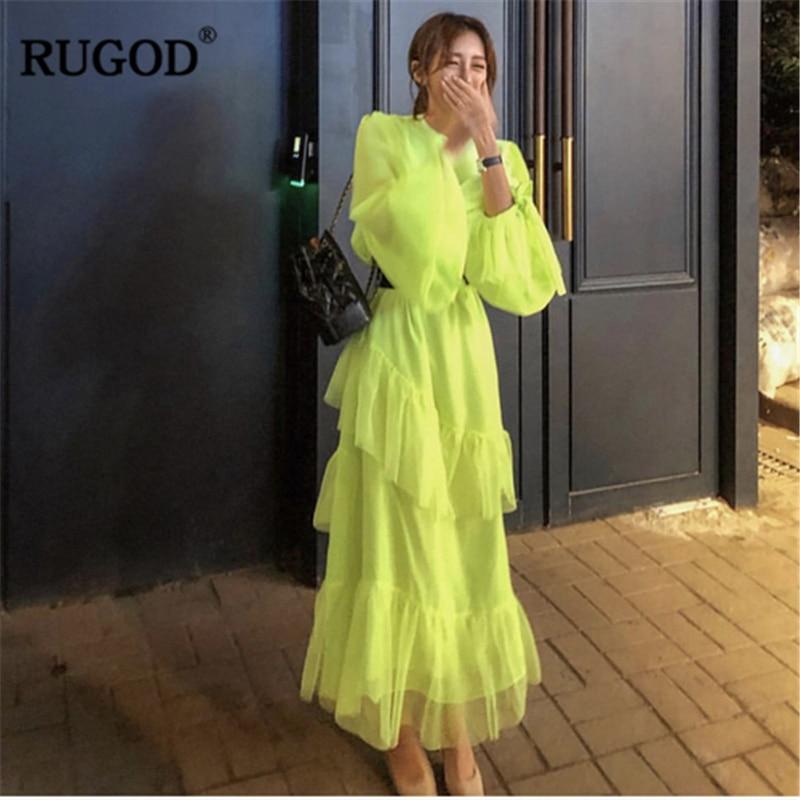 RUGOD 2019 mode couche femmes robe élégante solide taille haute transparent robe décontracté coréen modis femme vestido verano