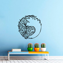Creative Unqiue Designed Wall Sticker Tribal Fish Silhouette In Circle Art Decals Home Livingroom Special Decor Poster W-41