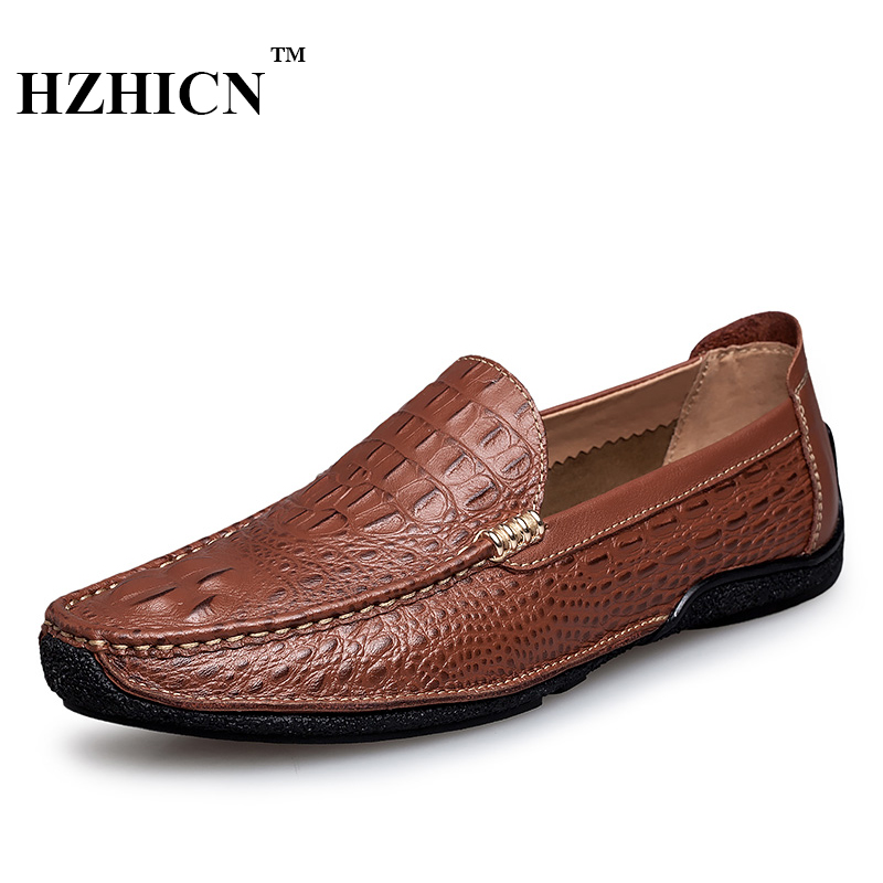 Men Genuine Leather Shoes Top Brand New Fashion Casual Loafers Soft and Comfortable Oxfords Crocodile Skin Flats Zapatos Hombre