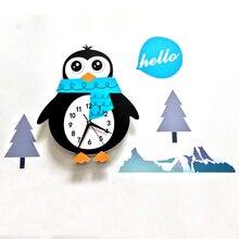 3D настенные часы мультфильм Пингвин узор Horloge Silent Современные Кварцевые Diy настенные палочки для детской комнаты спальня украшения дома