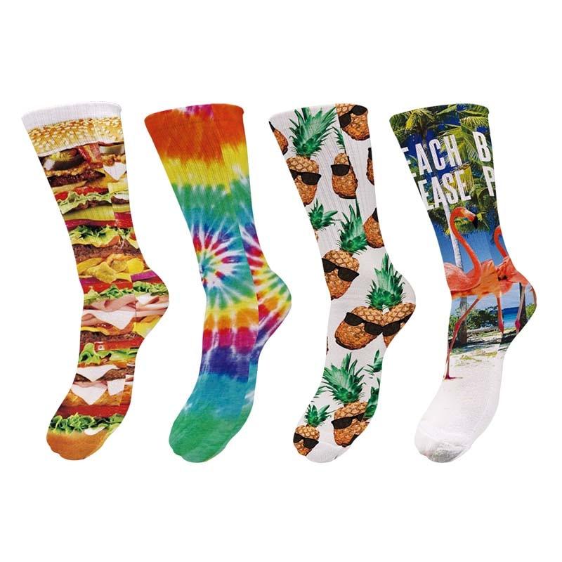 3D Print Kawaii Hot Dog Hamburger Long   Sock   Women Hawaii Cute Casual Popular Knee Stocks Candy Funny Cotton Spaort Sox