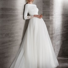 Новые простые креповые Тюль скромный Свадебные платья с 3/4 рукавами вырез лодочкой покрытые сзади кантри западные свадебные платья с рукавами