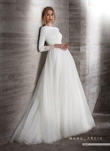Простой блиновый Тюль скромный свадебное платье с рукавом 3/4 вырез лодочкой скрытый сзади Западный рукав Свадебные платья