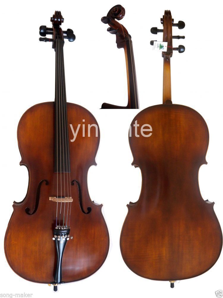 Full Size 4/4 New Cello Solid wood High quality Powerful Sound 4 String 5041# 4 4 new 4 string electric acoustic violin solid wood nice sound brown color