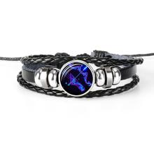 HIYONG 12 Constellation Zodiac Sign Black Braided Leather Bracelet Leo Cancer Virgo Libra Woven Dome Jewelry Punk Men