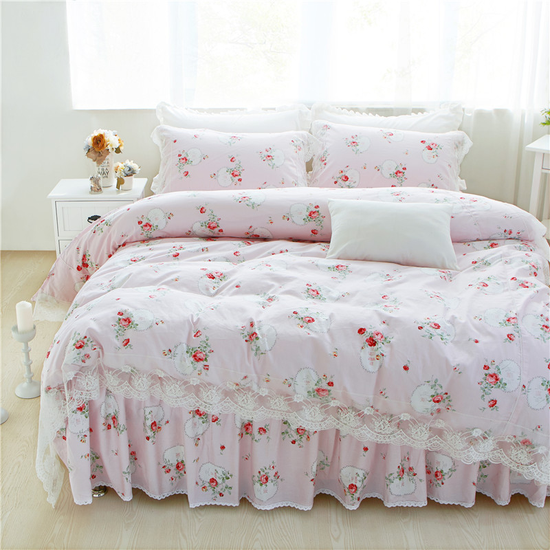 100%Cotton Lace edge pink blue floral print girls Bedding set twin queen king single double size Duvet/Quilt cover Pillowcases100%Cotton Lace edge pink blue floral print girls Bedding set twin queen king single double size Duvet/Quilt cover Pillowcases