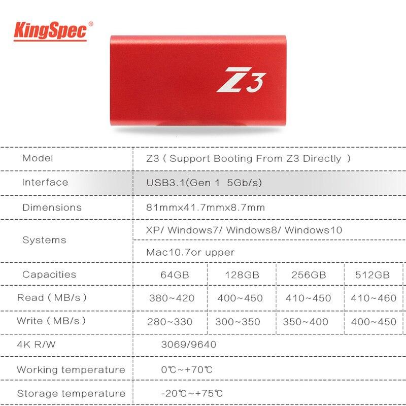 KingSpec Type-C USB 3,1 портативный ssd 256 Гб hdd внешний жесткий диск usb флэш-диск 256 ГБ с интерфейсом USB3.1 для настольных ПК