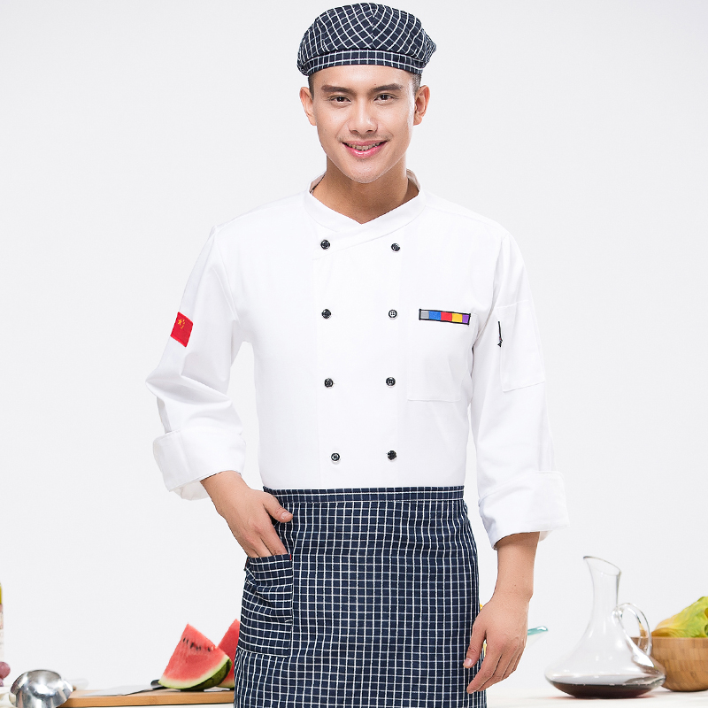 Hotel Kitchen Chef Wear Long Sleeved Restaurant Work Clothes Autumn Winter Waiter Shirt Work Overall Waitress Suit J076