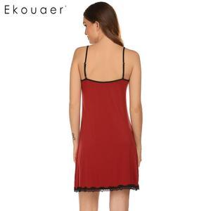 Image 5 - Ekouaer Women Camisole Nightdress Sexy Sleepwear V Neck Sleeveless Lace trim Bow Pleated Loose Summer Nightgown Sleepshirts