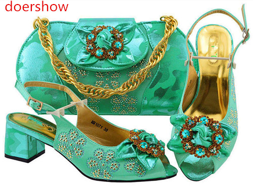 doershow fashion blue color Italian Shoes With Matching Bag High Quality Italy Shoe And Bag set For wedding and party!BF1-38