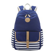 Keytrend парусиновые женские дорожные сумки рюкзаки элегантный дизайн в полоску для девочек-подростков школьные сумки рюкзаки емкость KSB212