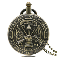 Hot Sale Vintage USA Military Army Quartz Pocket Watch Men Women Pendent Necklace with Chain Christmas Gift Reloj De Bolsillo