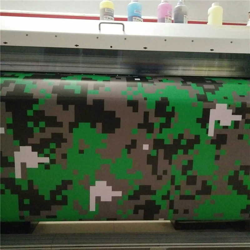 Green Military Camo Large Pixels Camouflage Vinyl Car Wrap With Air Free for Scooter Motocycle DIY Decal Sticker