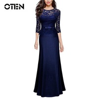 IHOT High Quality 2017 Women Sexy Lace Special Occasion Peplum Floor Length Dinner Evening Party Maxi