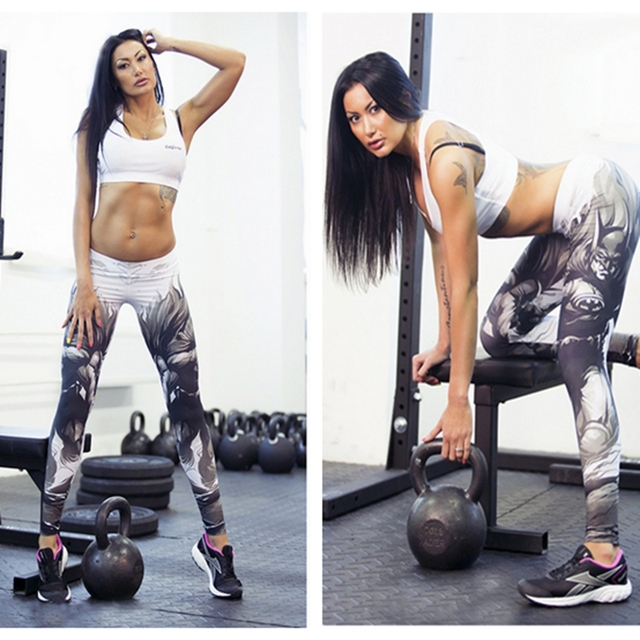 2016 Sexy Fitness Leggings Women Sportwear Workout Fitness Trousers Printing Bodybuilding High Waist Jeggings