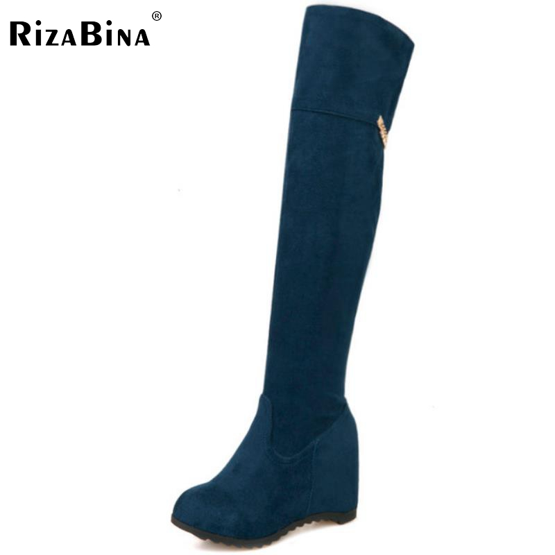 RizaBina women height increasing over knee boots  warm winter knight long botas snow boot footwear shoes P21822 size 32-43 rizabina size 32 48 women square high heel over knee boot winter warm british boots knight long botas sexy footwear shoes p21743