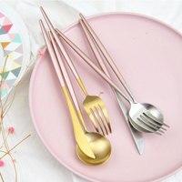 Chic Rose Gold Silver Dinnerware Set 304 Stainless Steel Plating Knife Fork Tableware Cutlery Elegant European
