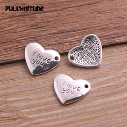 10pcs/lot 15*17mm Ancient Silver color Color Heart Charms Letter I Love You Pendants Jewelry Making DIY Handmade Craft